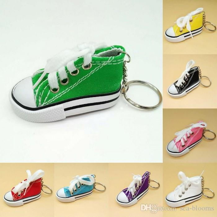 171c4b7e48a02 Mini Canvas Shoes Keychain Tennis Shoes Key Rings 3D Key Holder Chucks  Keychain Favors 9 Colors Sports Sneaker Key Chain Free DHL G628Q
