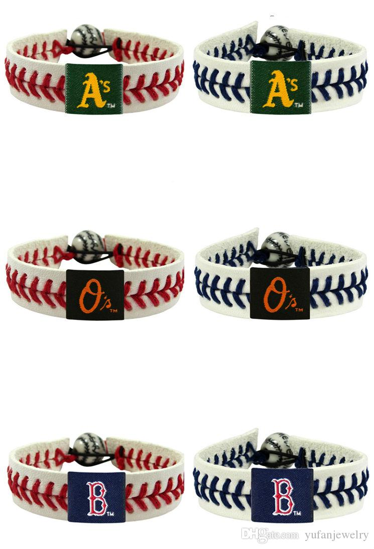 Professional League Baseball Sports bracelet Leather braided bracelet 35 squad mixed send