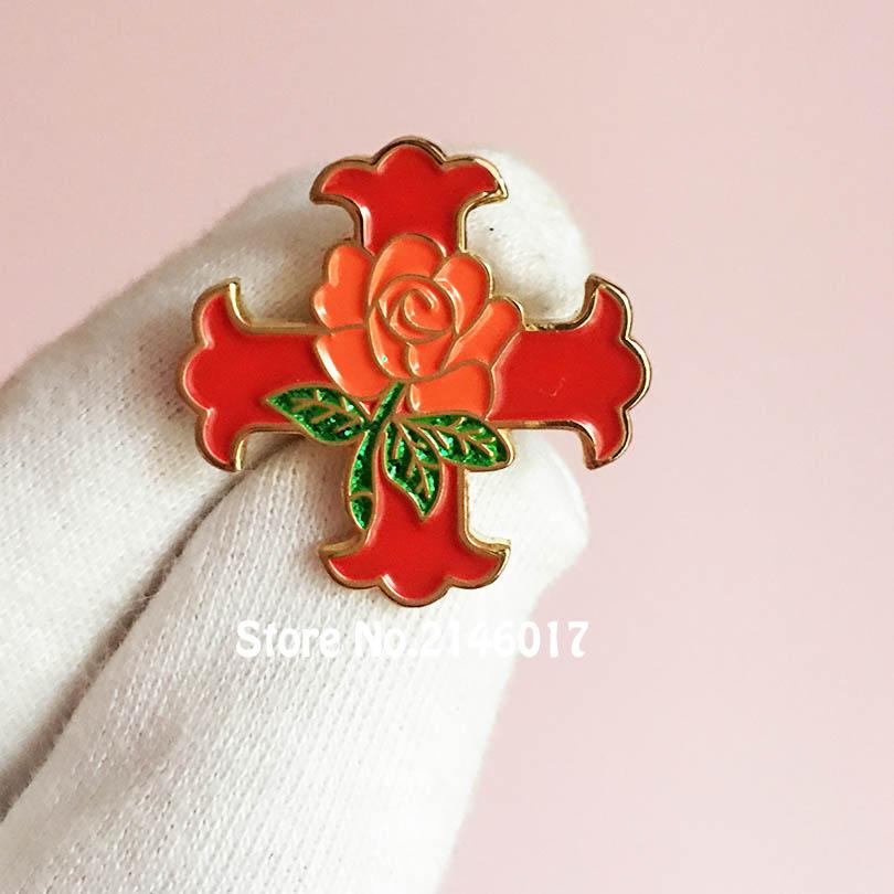 New Arrival Masonic Lapel Pin Red Cross Of Constantine Rose Glitter Pins  Brooch Knight Scottish Rite Free Masons Enamel Badge