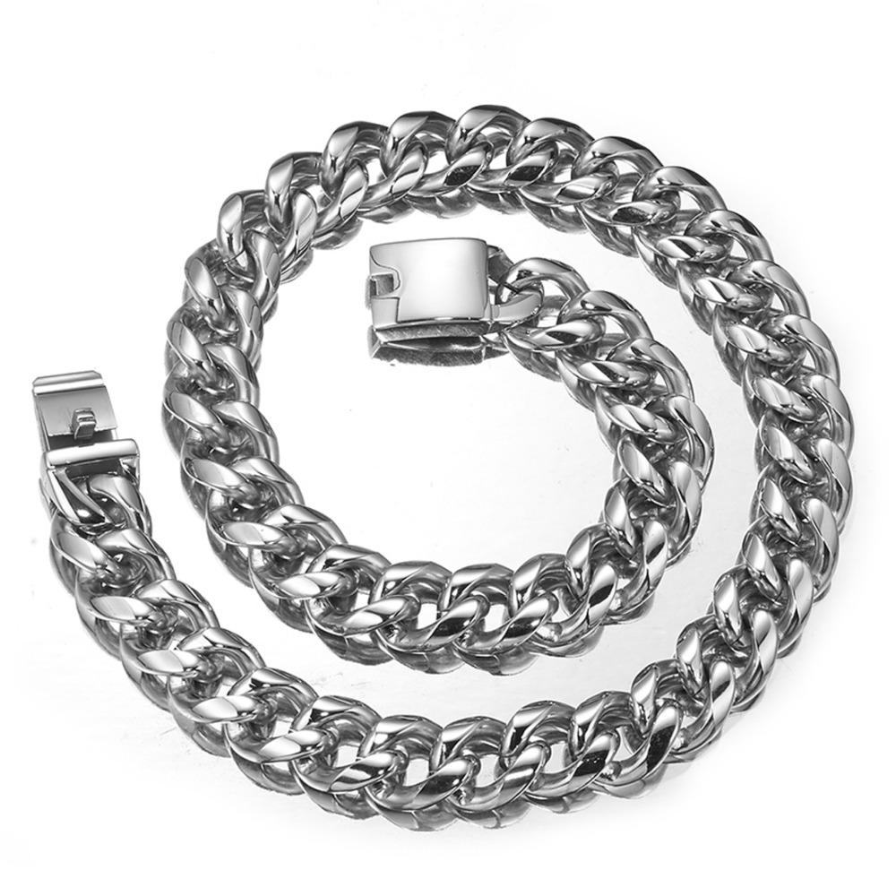 19mm Heavy Wide Curb Chain Men's Rock Roll Silver Bling Stainless Steel Necklace or Bracelet 7-40