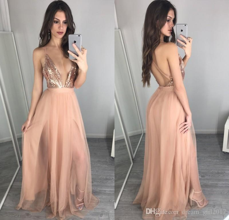 7d8a21e8cc2 2018 Unique Rose Gold Sequins Prom Dresses Sexy Deep V Neck Backless Prom  Dress Vestidos Cheap Evening Party Gowns Cheap Ball Gown Prom Dresses Cheap  Cute ...