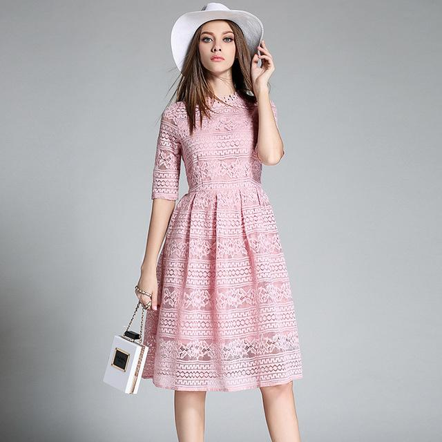 f7ea1a8d0f1 2019 High Quality Women Bohemian White Lace Dress Autumn Crochet Casual Long  Sleeve Plus Size Pink Black Red Dresses Clothing D810013 From  Finebeautyone