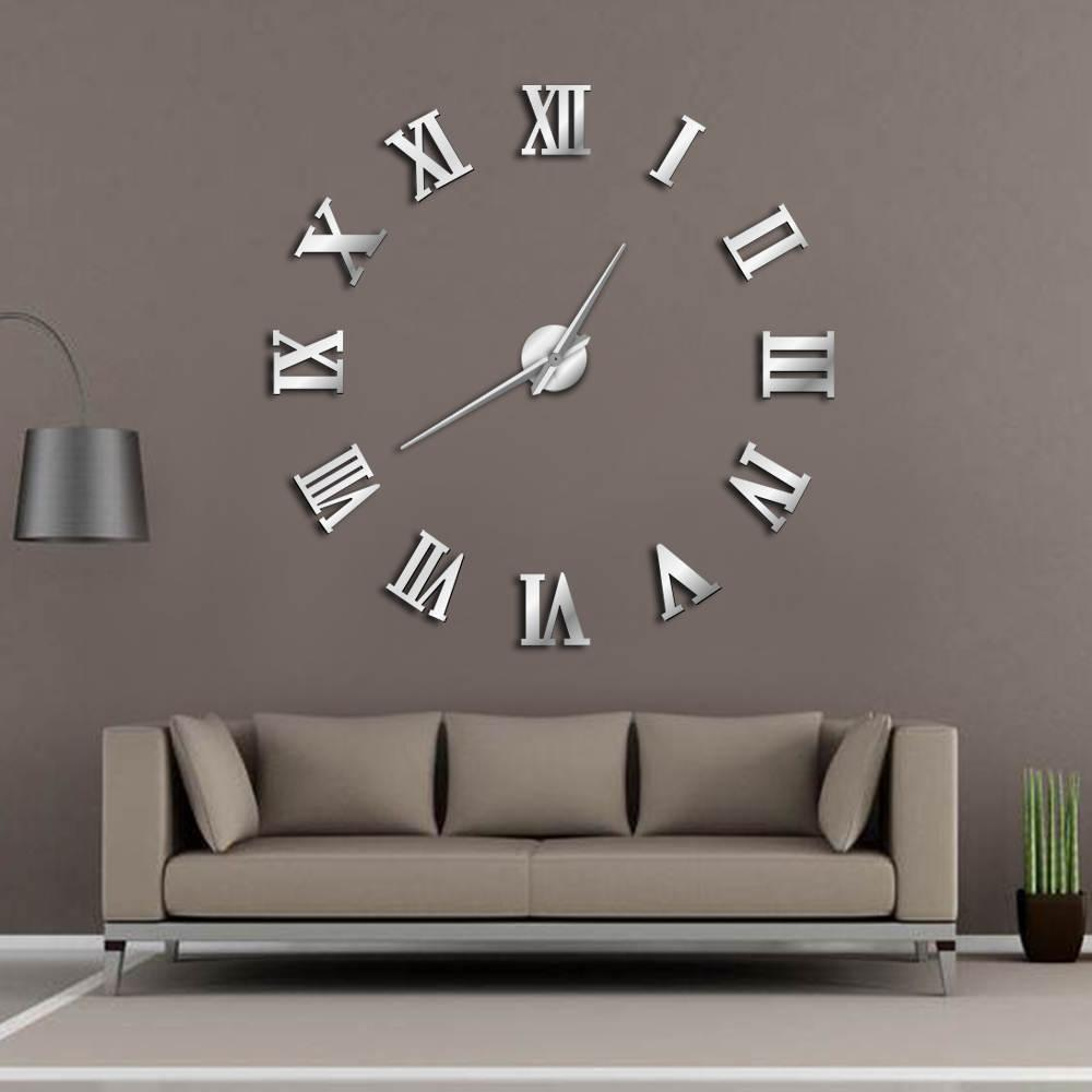 Modern Diy Large Wall Clock 3d Mirror Surface Sticker Home Decor Art Giant Watch With Roman Numerals Big Silver Clocks From