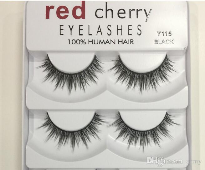 2018 جديد الكرز الأحمر الرموش الصناعية 5 أزواج / حزمة 8 أنماط الطبيعية لفترة طويلة المهنية ماكياج عيون كبيرة ذات جودة عالية