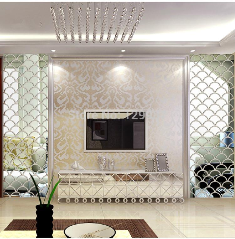 New Style 40x100cm 3d Fish Scale Mirror Wall Stickers Forliving Room Dining Entrance Tv Decoration Big Framed Mirrors From