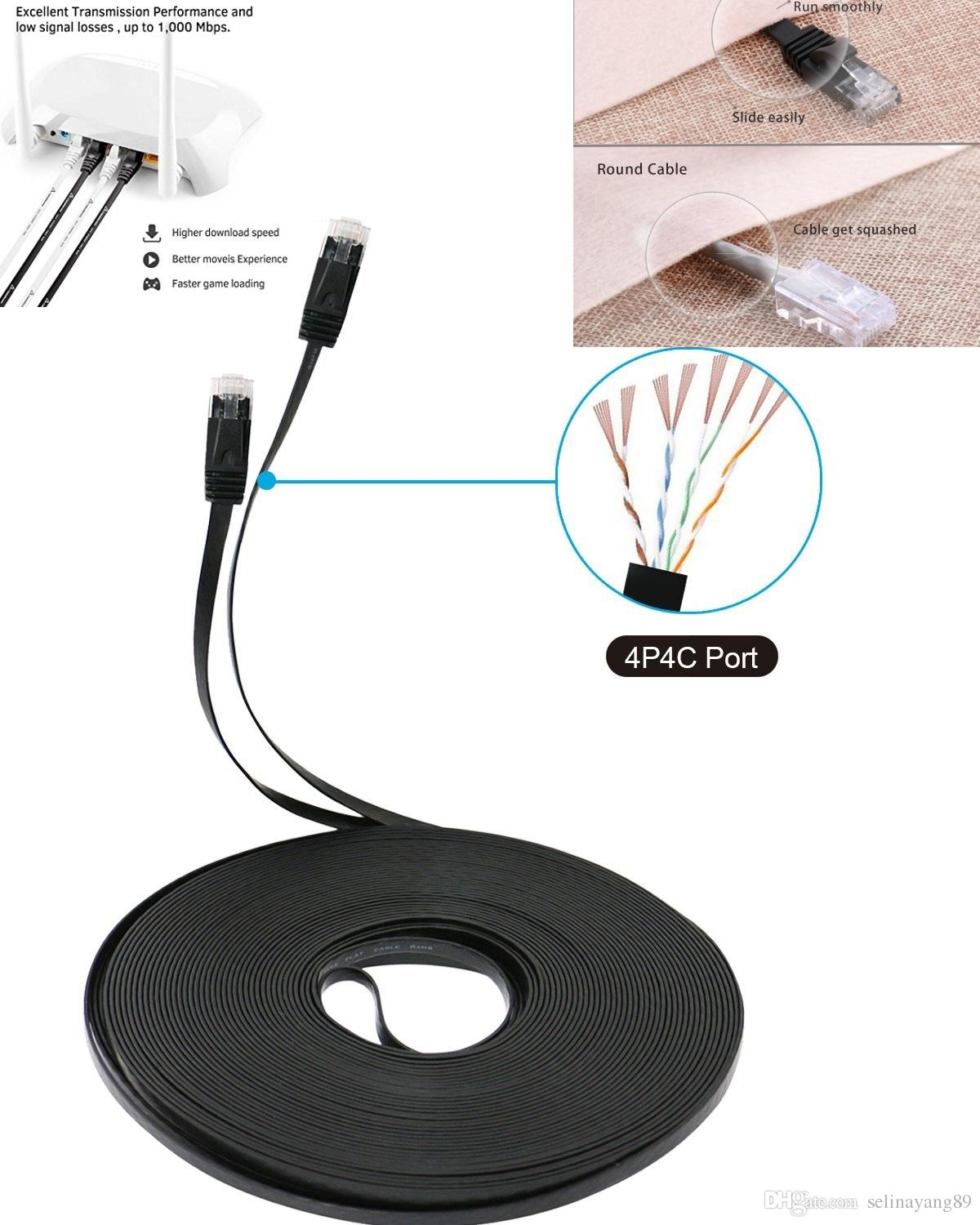Lnyuelec 05m Cable Pure Copper Wire Cat6 Flat Utp Ethernet Network How To Install Rj45 Patch Lan White Black Blue Cables And Connector Computer Printer