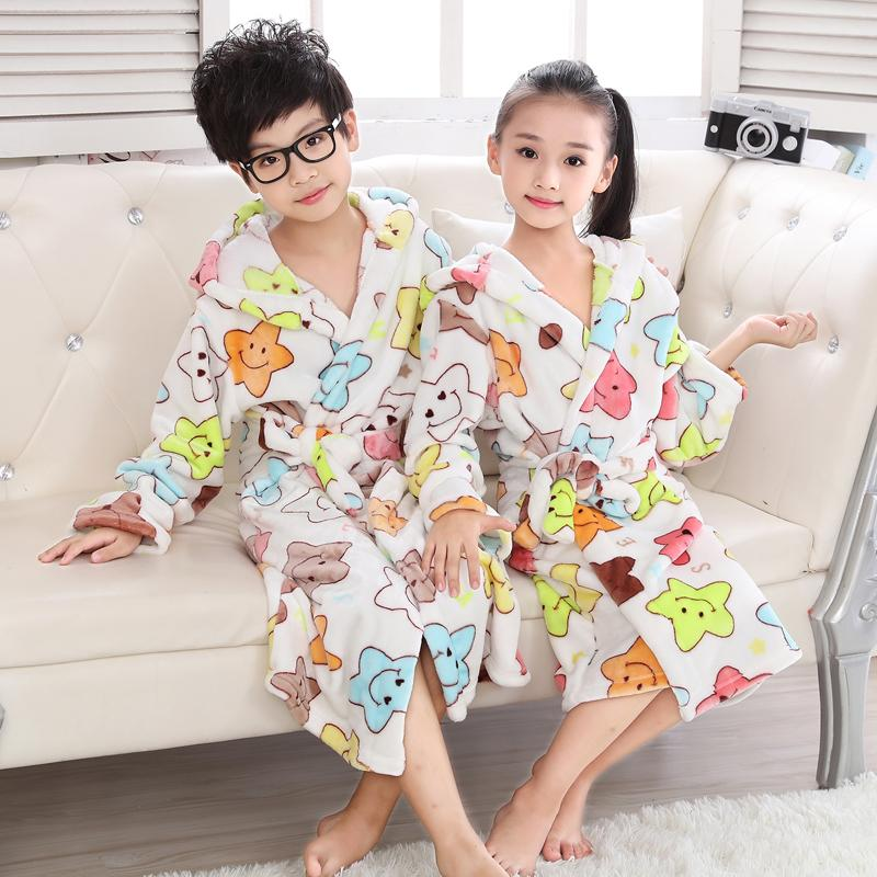Child Bathrobe Pajamas Kids Boys Thick Flannel Nightwear Colorful Star Robes  For Girls Teenage Hooded Long Sleeve Dressing Grow Y18102908 Kids Cotton ... d37bc4b53