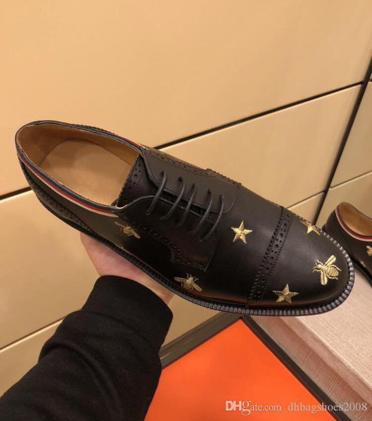 En lüks Erkekler Elbise Ayakkabı Adam resmi elbise düğün Ayakkabı moda arı tasarım ile Oxfords Bruge ayakkabı Koyun derisi kutu 38-45