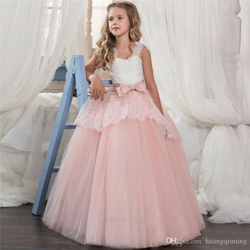 f7b95f10d Compre 2018 Summer Girls Party Dresses Elegante Performance Kids Dress  Niños Princesa Vestido De Novia Traje Para Niña 6 14 Años Ropa A  31.04 Del  ...
