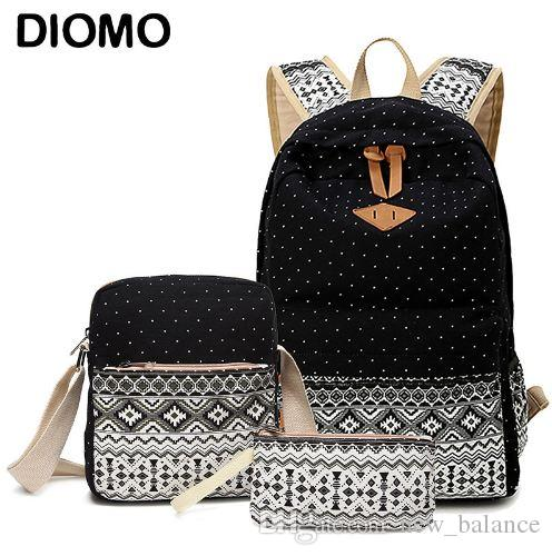 0eb68f96263 DIOMO Canvas School Bags Set For Girls Female Backpack Schoolbags ...