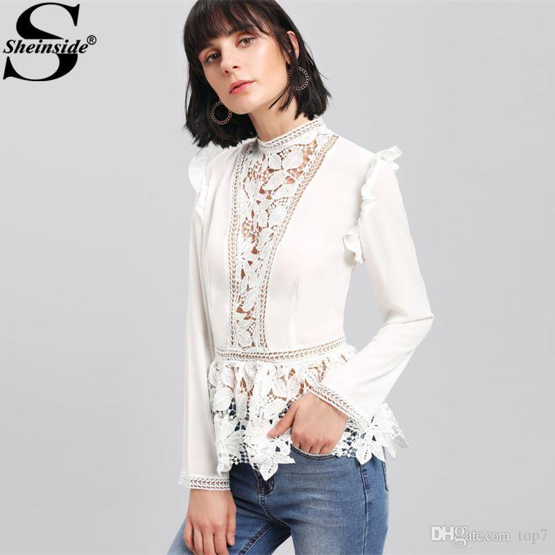 5c8d370663 2019 2018 Stand Collar Long Sleeve Tiered Layer Slim Fit Blouse White  Frilled Shoulder Lace Insert Peplum Elegant Blouse From Top7, $23.43    DHgate.Com