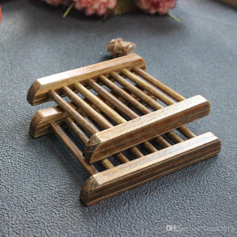 خمر نمط الحمام صحن الصابون اليدوية الخشب صحن مربع أطباق خشبية الصابون كما حامل اكسسوارات المنزل اكسسوارات الحمام