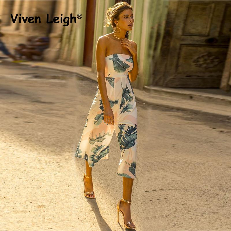 7171cfd7799 2019 Wholesale Palm Leaves Print Jumpsuit Romper Women 2017 Elegant Sexy  Off Shoulder Strapless Summer Beach Jumpsuits From Clothesb911