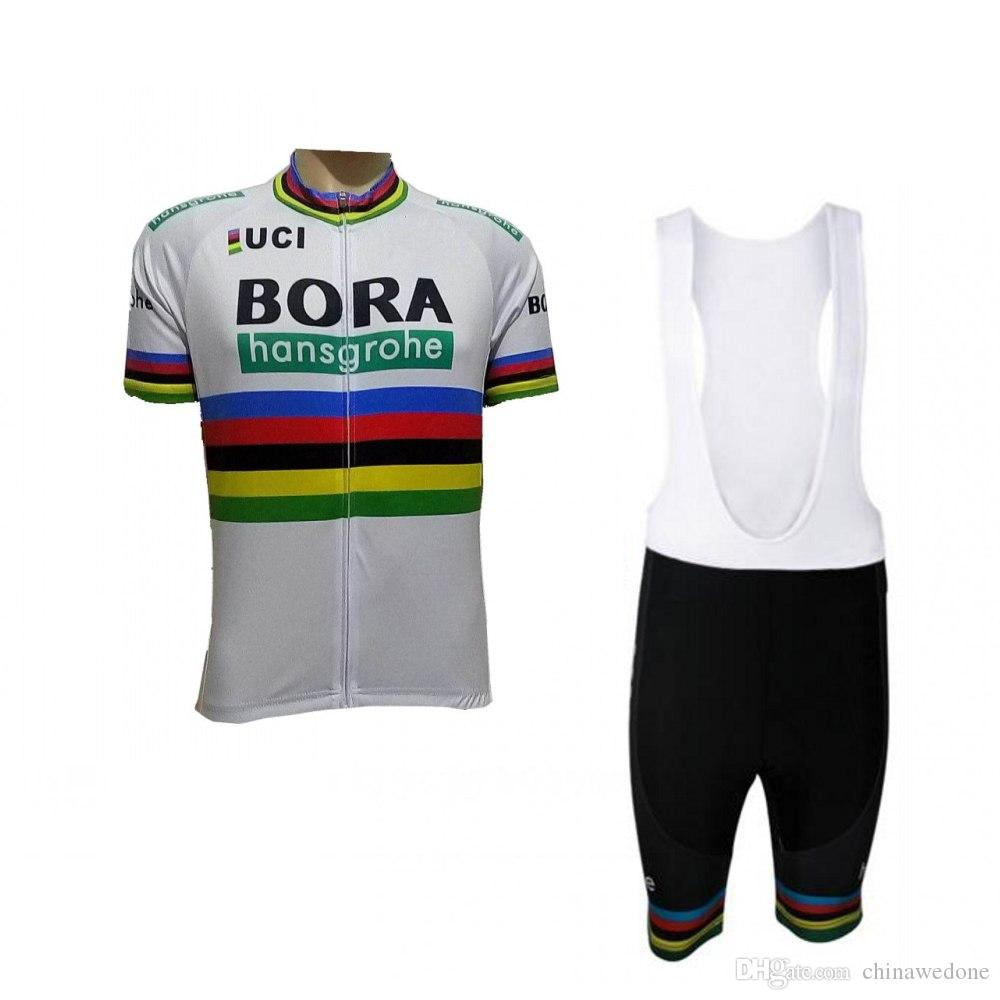 2018 Uci Campeón Del Mundo Peter Sagan Arco Iris Pro Equipo Bora Hansgrohe  Jersey De Ciclismo Ropa De Ciclismo De Verano Bicicleta De Verano Babero ... 0b8088d811e5b