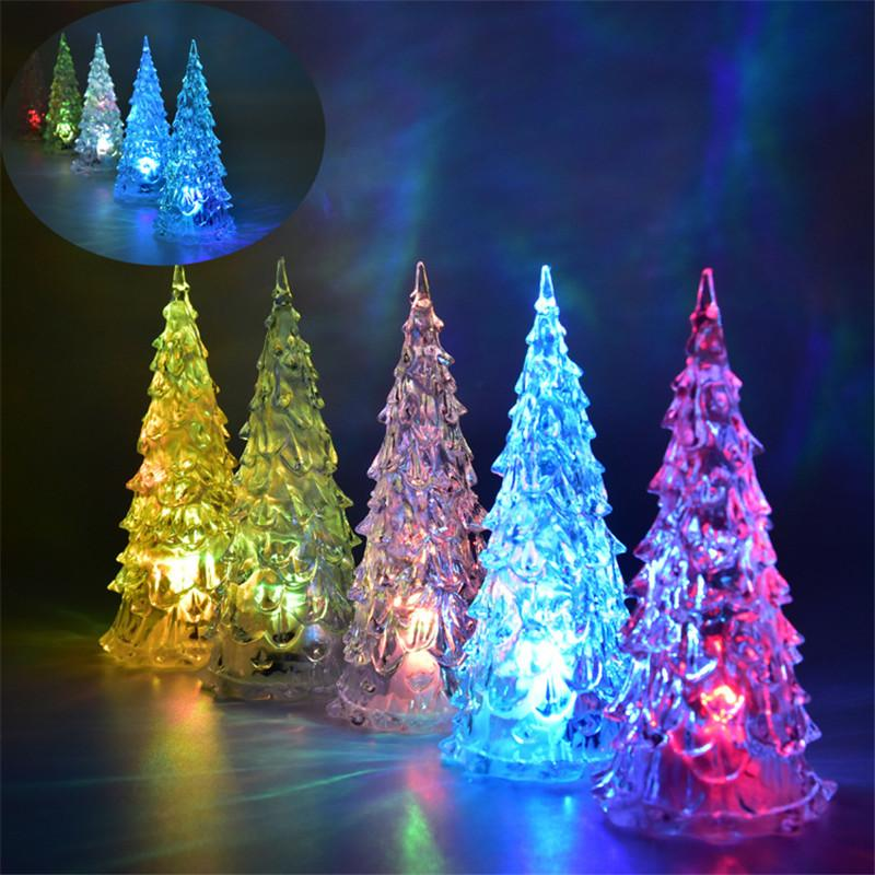 2018 mini christmas tree led lights crystal clear colorful xmas trees night lights new year party decoration flash bed lamp ornament club room from