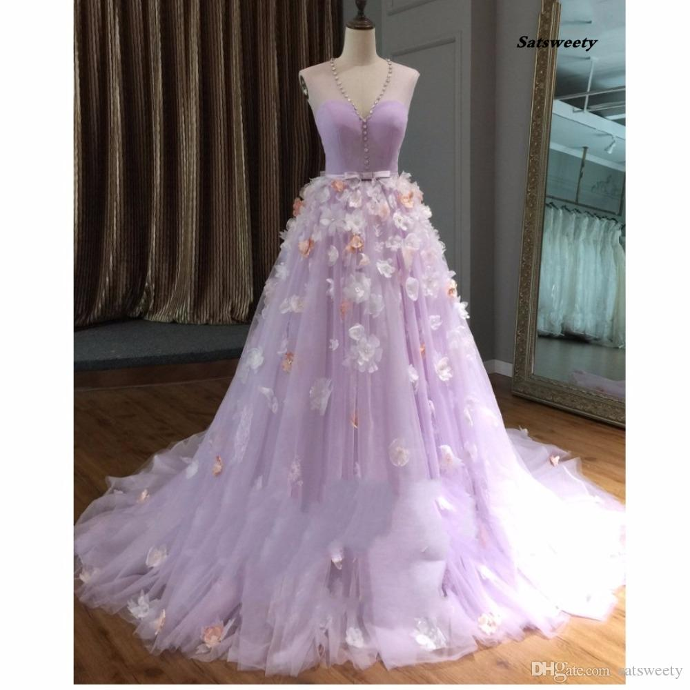 Pretty 3d Flower Long Prom Dresses 2018 Lavender Crystal Tulle Prom ...