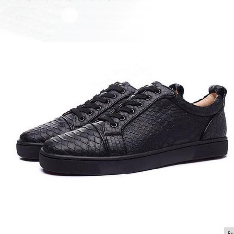 b0f312b10b7a Size 35 46 Fashion Designer Brand Red Bottom Black White Snake Pattern  Casual Men Women Lace Up Red Sole Flat Male Unisex Low Top Sportshoes Work  Shoes ...