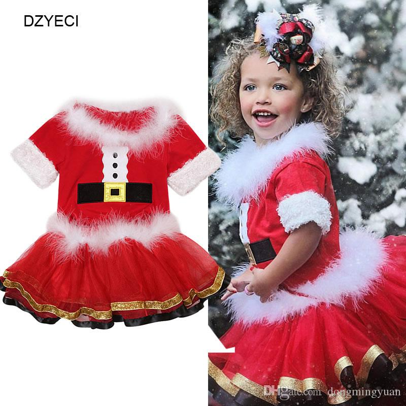 20c0619cf Christmas Santa Costume For Baby Girl Set Clothes Party Suit Kid Boutique  Top+TUTU Skirt 2PC Outfit Children Tracksuit Birthday Gift