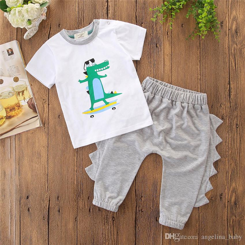 1409688cb9db8 2018 Baby Boys Set Summer Cartoon Boys Crocodile Printed T shirt + Trousers  2pcs Outfits Kids Boutique Clothing Children Casual Clothes Z11