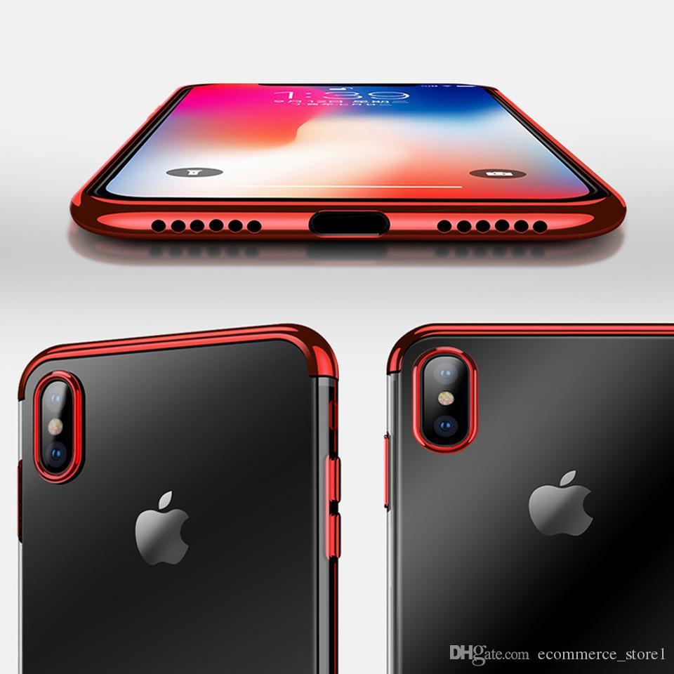 아이폰 X 전기 도금 럭셔리 전화 케이스에 대 한 TPU 실리콘 소프트 다시 커버 케이스 아이폰 6 6S 7 8 플러스 S9 S8 케이스