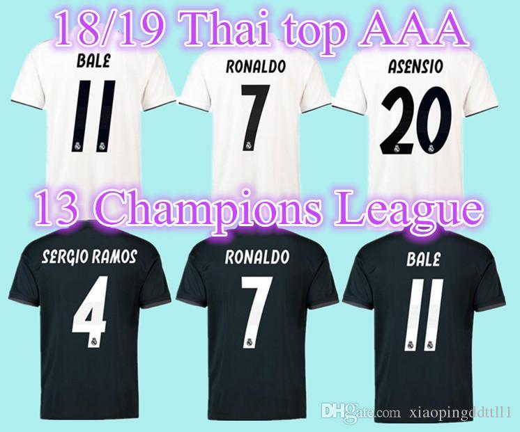 6b81b85265800 2018 2019 Adulto Real Madrid Lejos De Casa Camisetas De La Liga De  Campeones 18 19 RONALDO ASENSIO BALE RAMOS ISCO MODRIC Camiseta De Fútbol  Tailandia ...