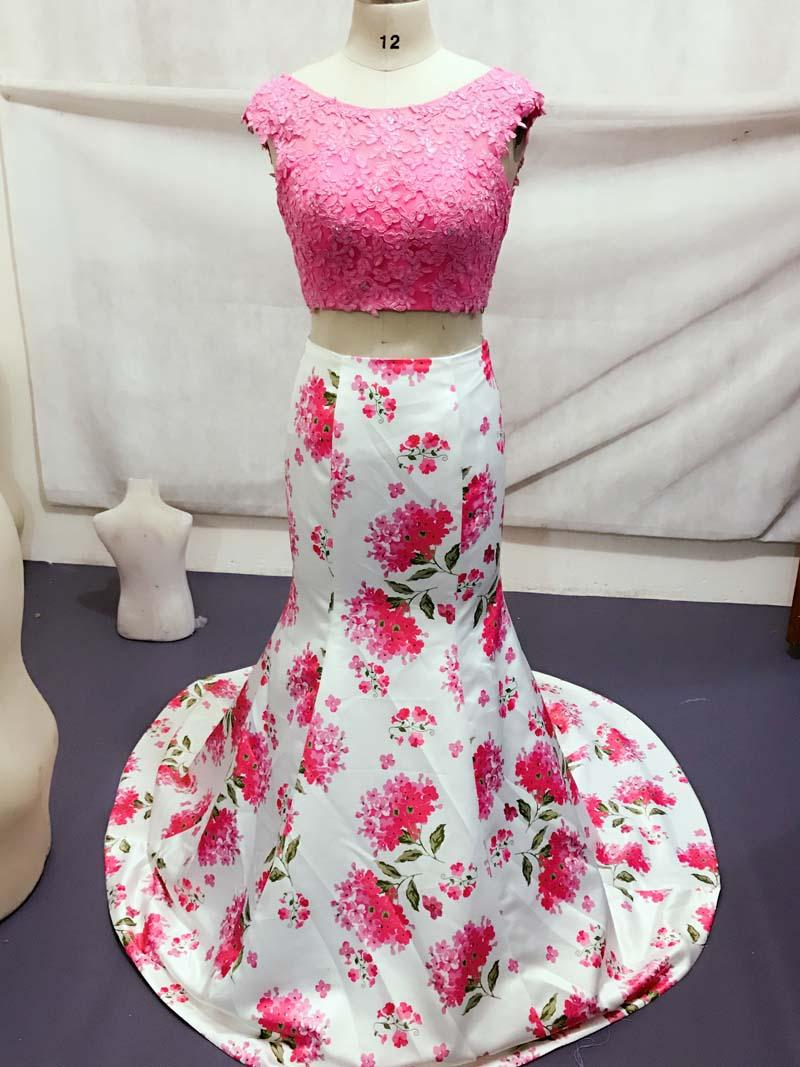 Two Pieces Dresses 2018 Floral Print Prom Dress Lace Top Open Back Mermaid Evening Gown Real Image