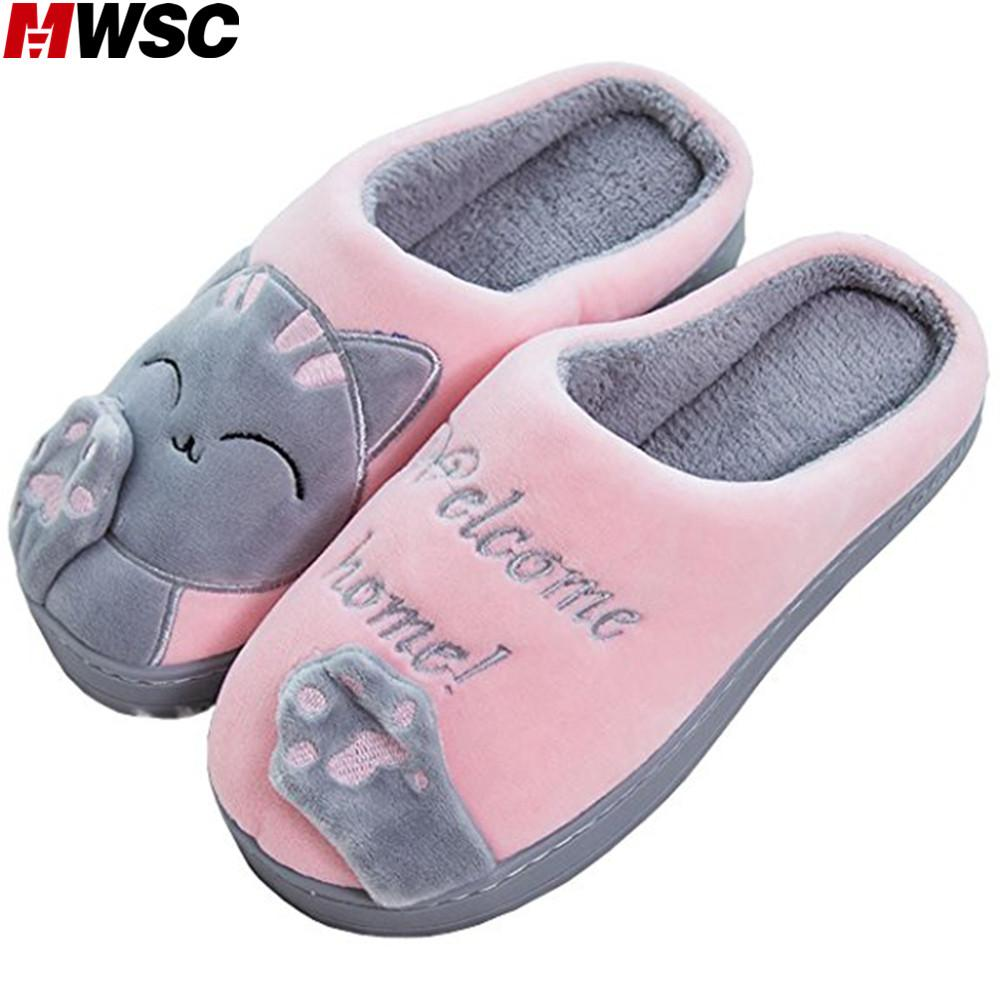 mwsc women winter home slippers cartoon cat casual shoes slip on