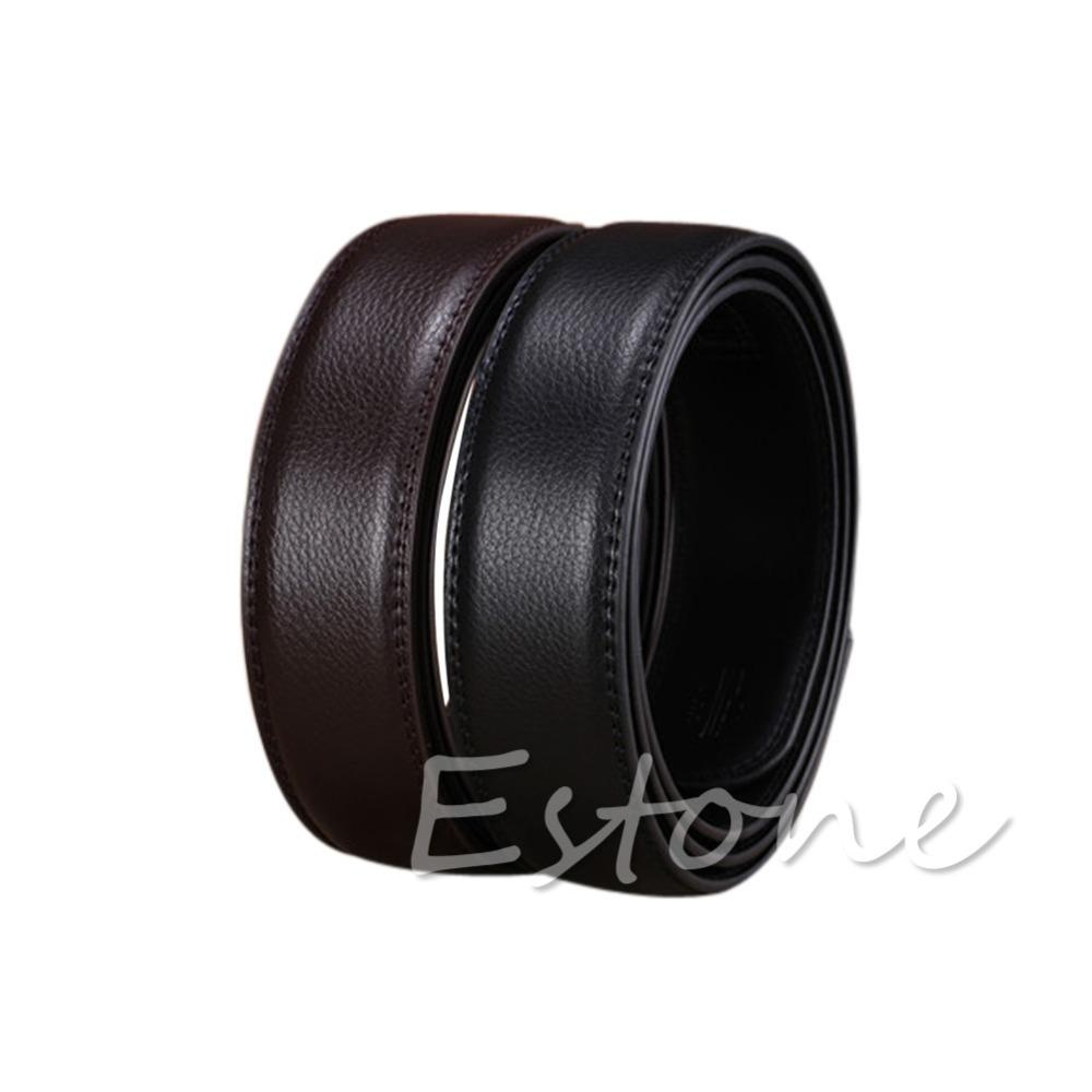 "Luxury Men""s Leather Automatic Ribbon Waist Strap Belt Without Buckle POP -Y107"