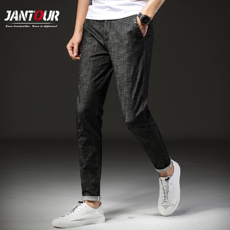 Acheter Jantour 2018 Nouvelle Marque Hommes Jeans Mince Stretch Denim  Hommes Réguliers Jean Pour Homme Pantalon Pantalon Cheville Longueur Jeans  Noir Homme ... c85132cbdcfa