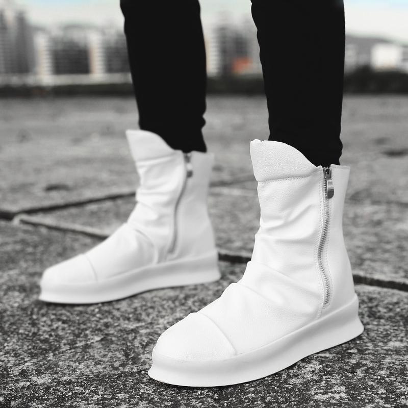 Compre 2019 Hip Hop Moda Otoño Invierno Hombre Botas Chelsea Zapatos De  Vestir Sin Cordones Baile Calzado Plataforma Zapatillas Altas Martin Botas  ... eb6ee49b956