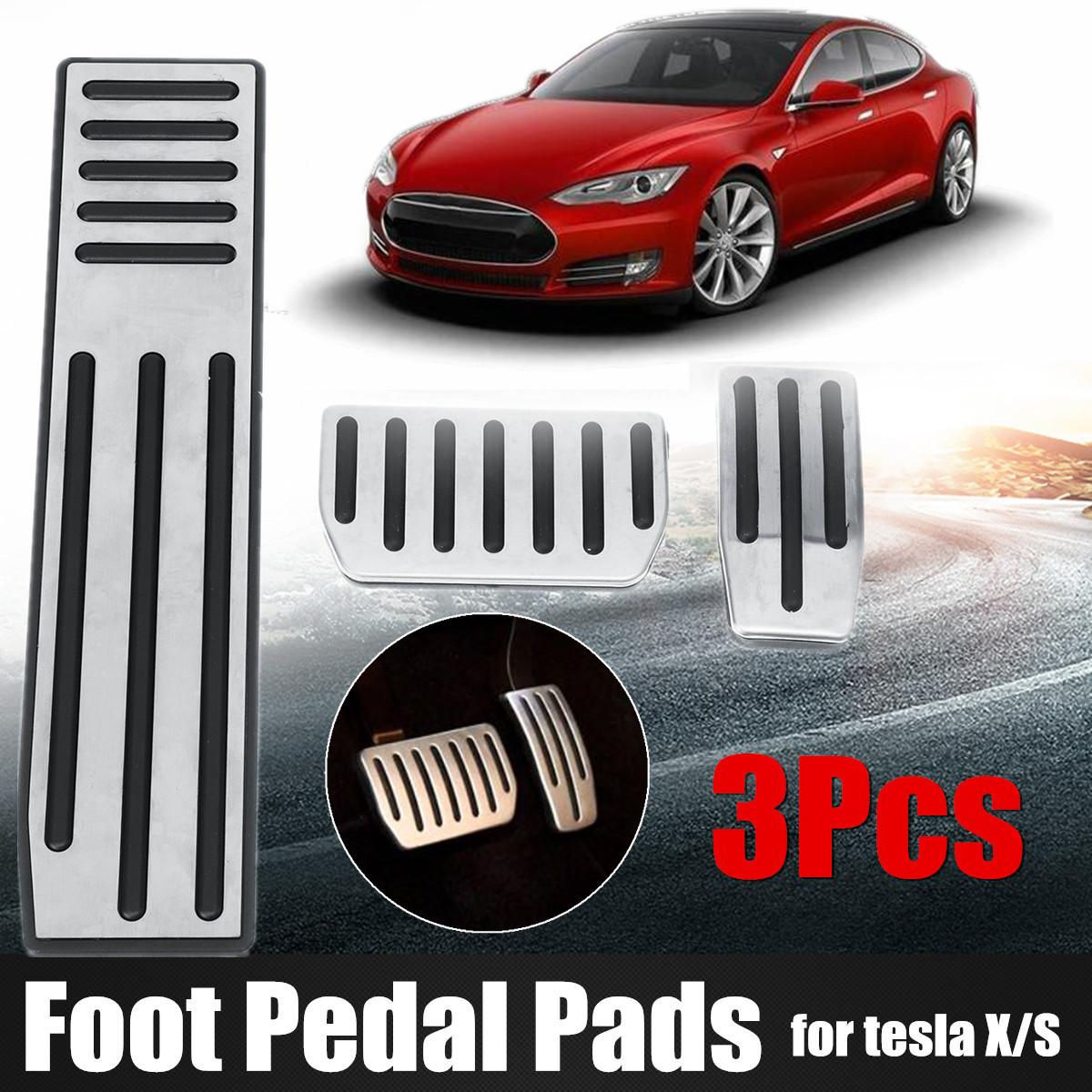 Non-Slip Aluminum Alloy Accelerator Brake Foot Rest Pedal Sets for Tesla Model S