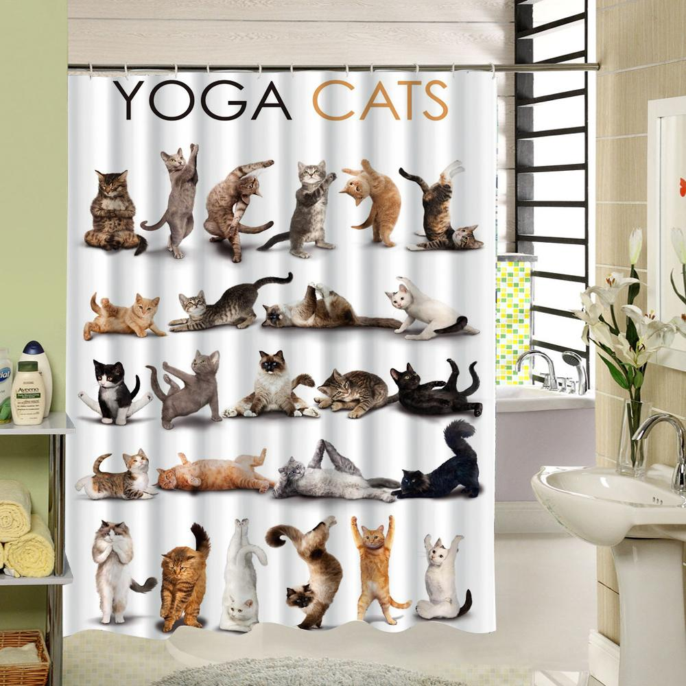 shower curtain shower environmentally friendly. Cute Animal Yoga Cats Shower Curtain High Qulity Polyester Fabric Design Waterproof Eco-friendly With 12 Hooks Designer Environmentally Friendly