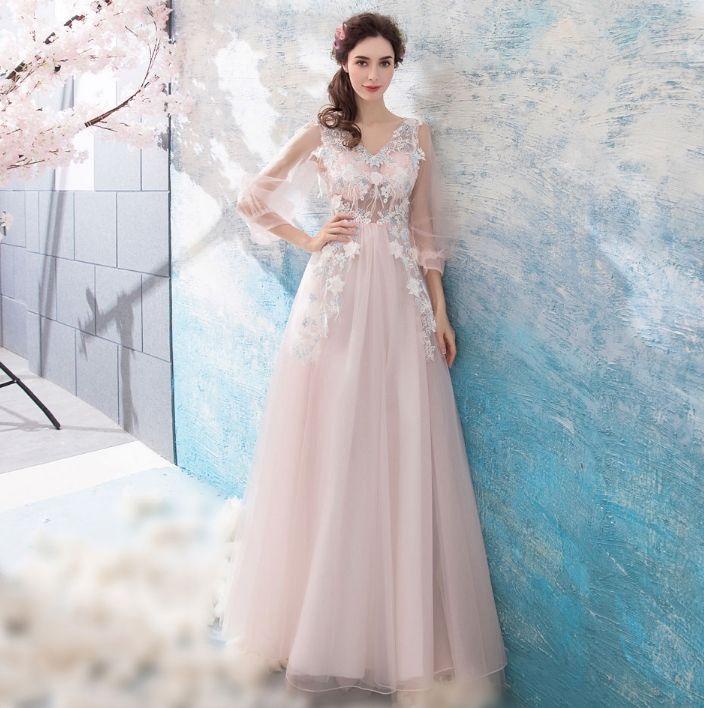 bf32ca8d Discount Dream Mori Light Pink Long Sleeve Bridal Wedding Toast Dress  Elegant Dinner Annual Meeting Ladies Dress Mermaid Wedding Dresses Simple  Wedding ...