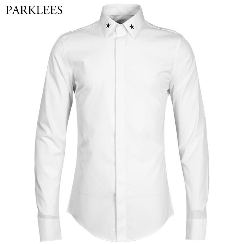 Luxury Mens Dress Shirts 2017 Brand New Star Embroidery Shirt Men Casual Slim Fit Chemise Homme Long Sleeve Cotton Men Shirt 4XL