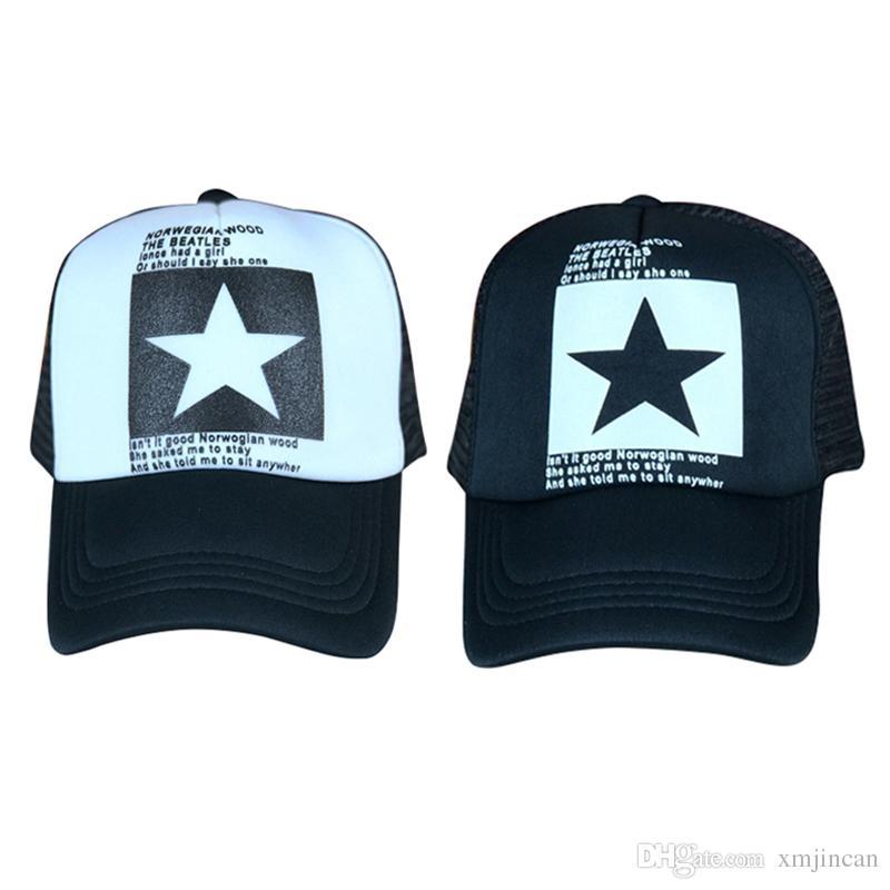 0ac61959f484b Compre 200 UNIDS   LOTE Nuevo Patrón De Estrella Gorra De Béisbol Hombres  Mujeres Hip Hop Sombrero Blanco Negro Gorra De Casco De Snapback Casuales A  ...