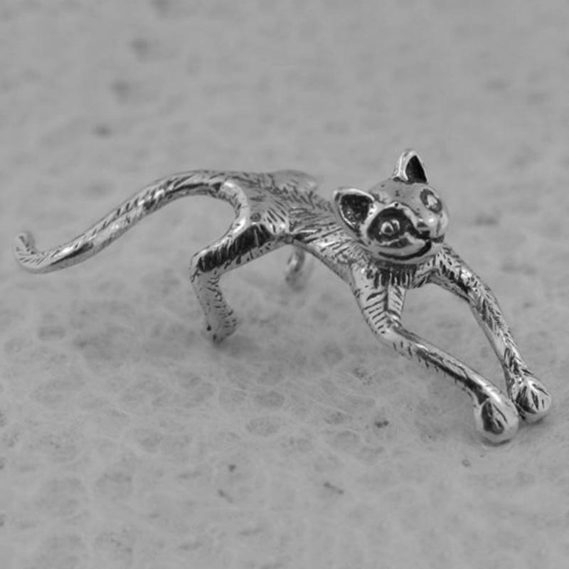 Vintage Cat Whisperer Ear Cuff in argento rame color Cat clip su orecchini donne Anmal Design orecchini gioielli