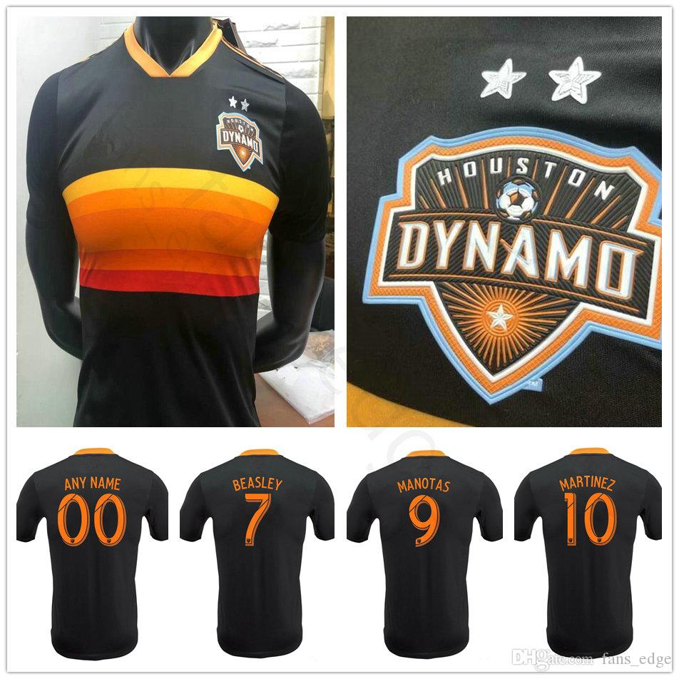 hot sale online b15b9 f0a80 Player Version 2018 2019 Houston Dynamo Soccer Jersey Martinez Manotas Elis  Beasley Cabezas Custom Black 18 19 Football Shirt