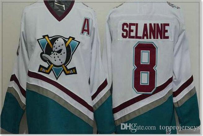 Anaeim Ducks #8 Teemu Selanne 9 Paul Kariya Mens Ice Hockey Shirts Pro Sports team Jerseys Uniforms Vintage Stitched Embroidery Sz M-XXXL