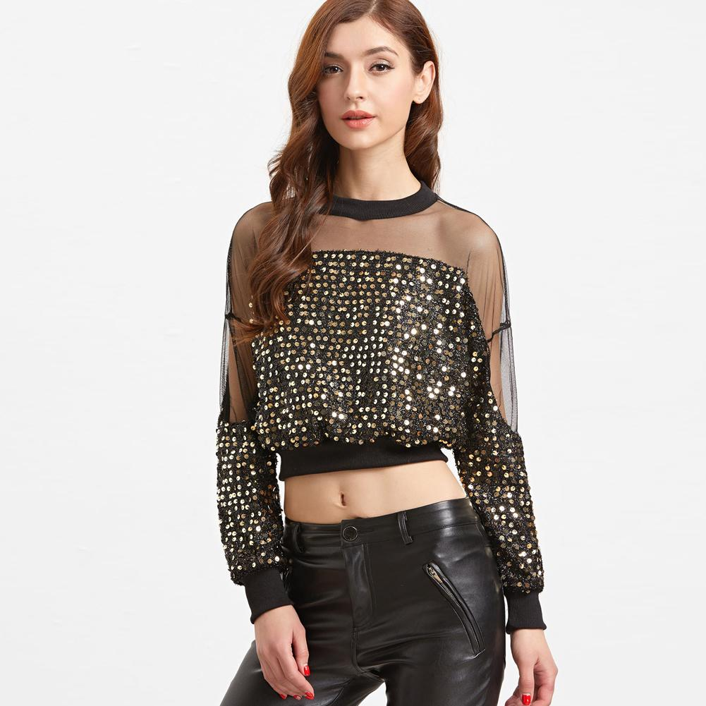 8dc94d2ca2f 2019 New Sexy Women Gold Sequined Crop Top Sheer Mesh Splice Cropped T  Shirt Female O Neck Long Sleeve Short T Shirt Femme Black Really Cool T  Shirts Online ...