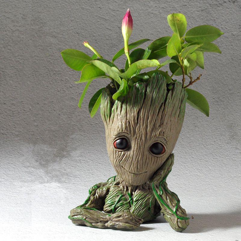 Pot Skull Flower Vase Handmade Baby Action Figure Penholder Resin