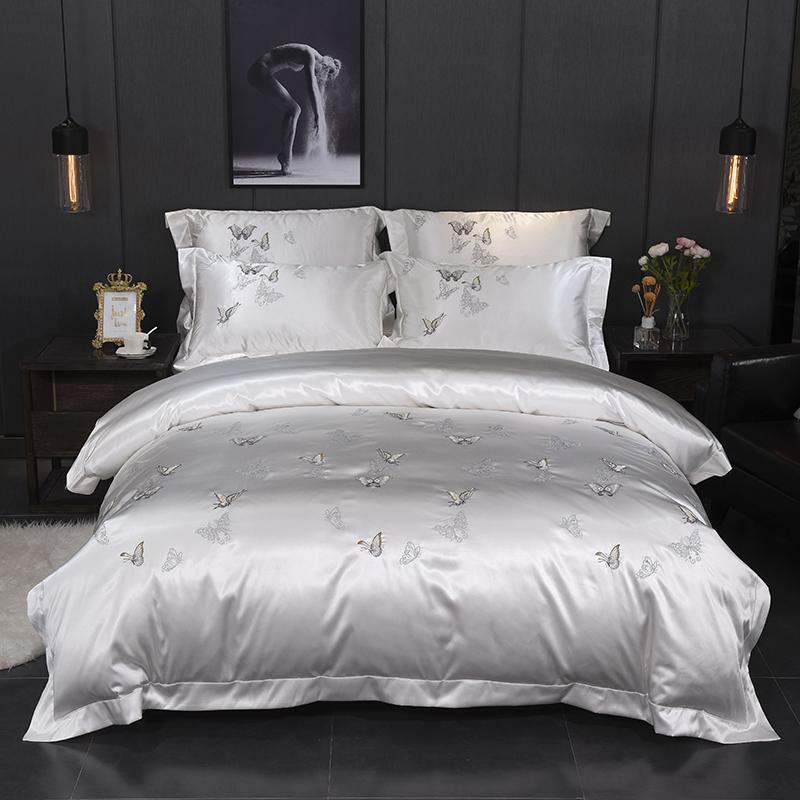 White Silver Silk Cotton Luxury Butterfly Bedding Set Queen King Size Bed  Set Embroidery Duvet Cover Bedsheets Linen Green Bedding Purple Bedding  Sets From ...
