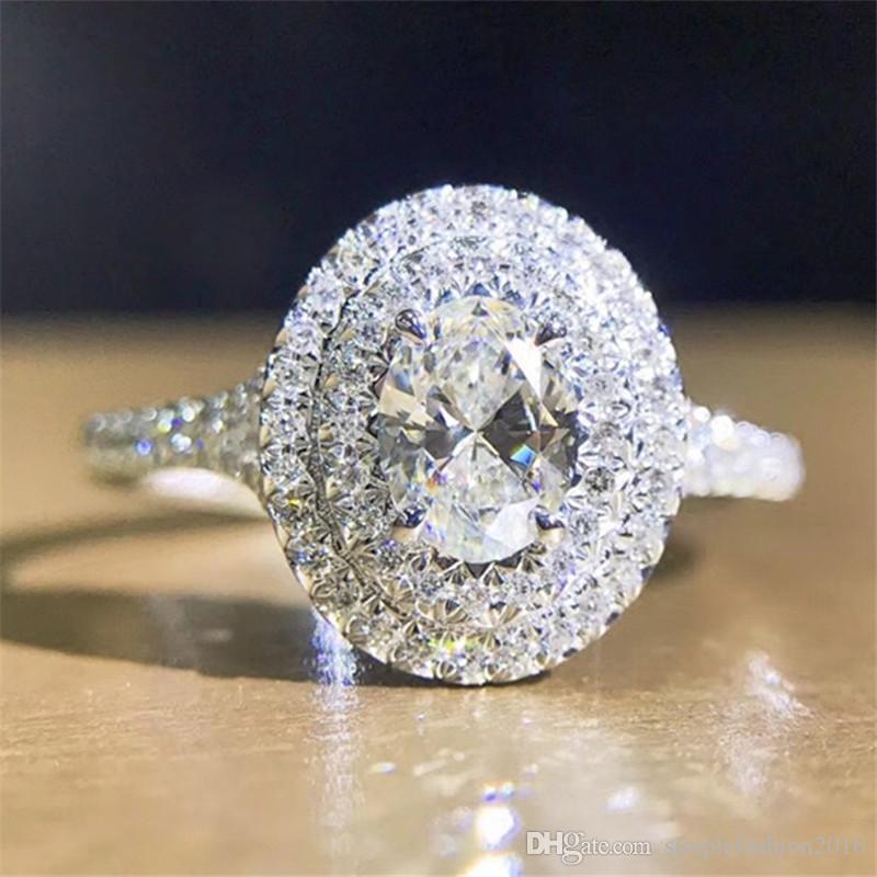 Main fait à la main 100% Soild 925 bague en argent Sterling ovale coupé 0.6ct Sona 5A Cz bague de fiançailles bagues de mariage pour les femmes bijoux