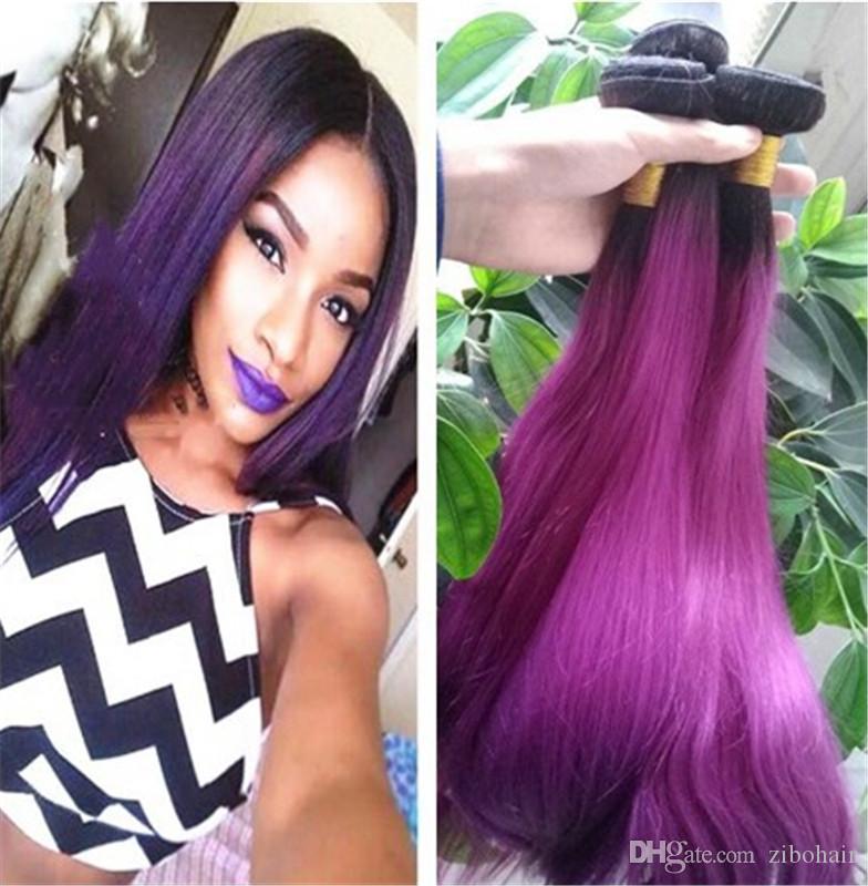 Ombre Hair Weave Bundles Indian Peruvian Brazilian Virgin 1b Purple