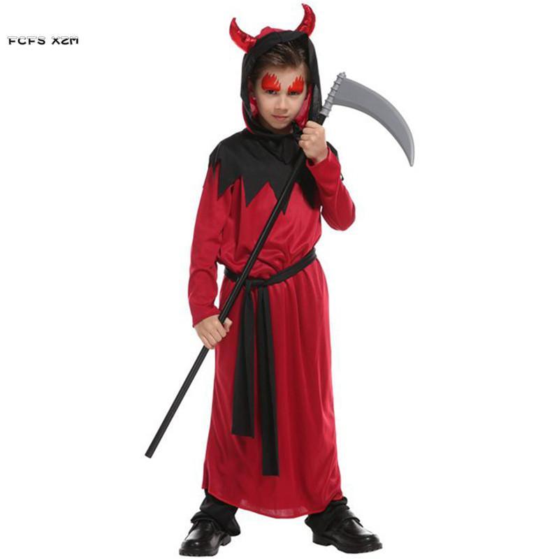 Halloween Costumes For 4 Friends.M Xl Boy Fiend Hell Devil Demon Cosplay Children Halloween Azrael Death Costume Kids Carnivl Purim Easter Masquerade Party Dress