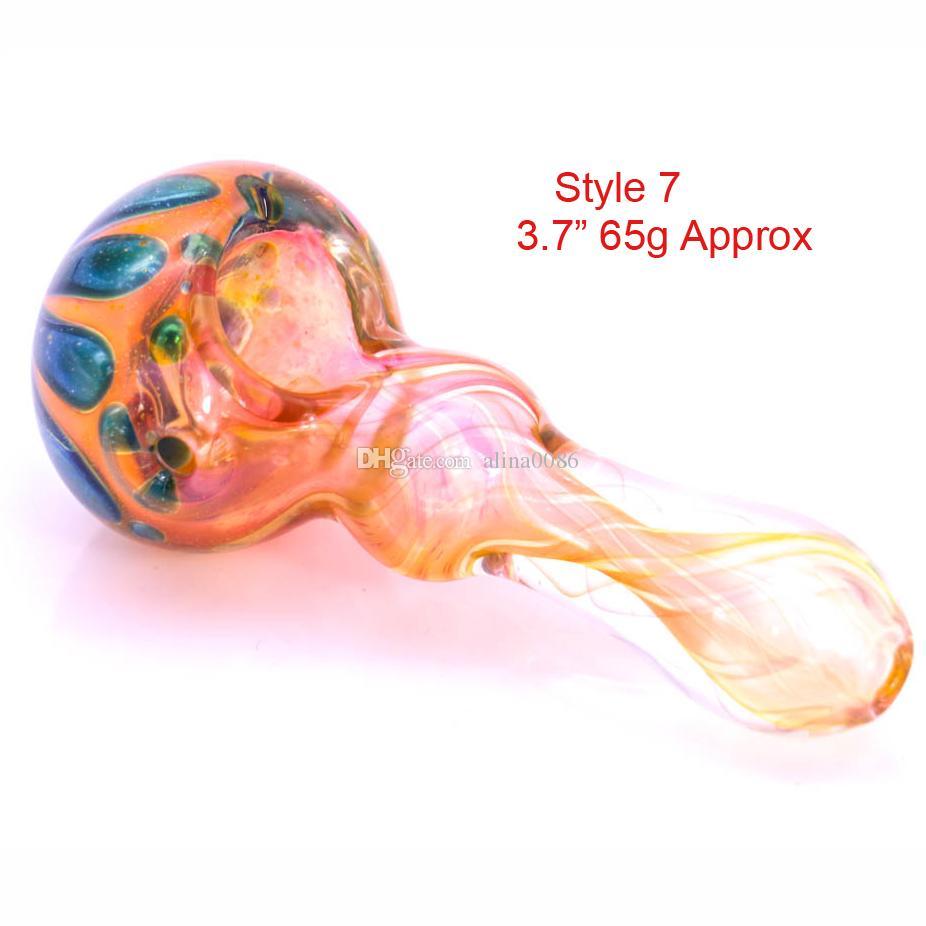 Rury łyżki szklane do palenia Ręcznie wykonana rura kolorowa może zmieniać 3,5