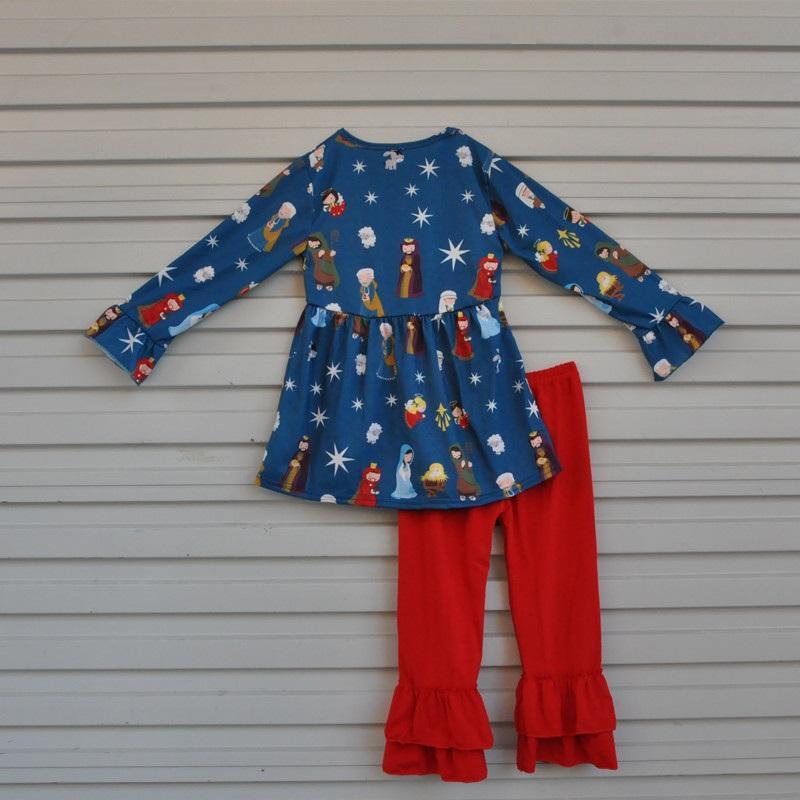Fiel Baby Jesus Imprimir Algodão Top e Bottom Roupas Bebê Outfits Crianças Terno Inverno Criança Meninas Conjuntos de roupas F071