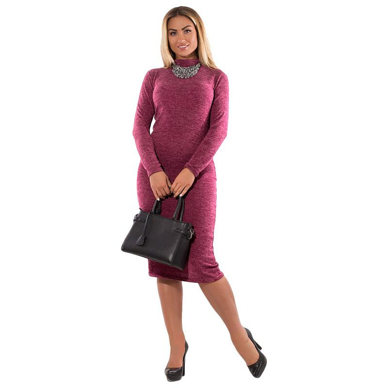b3c70dfcd03 Acheter 2019 Printemps Automne Robe Col Roulé Casual Manches Longues Femmes  Robe Moulante Bandage Robe Plus La Taille Femmes Vêtements Vestidos 6XL De  ...