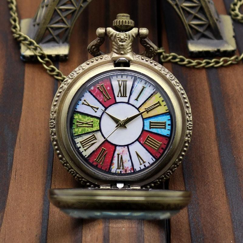 2016 New Arrival European Style Cathedral Glass Design Pocket Watch High Quality With Chain Neckalce