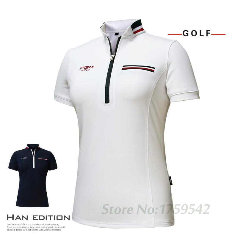 b50c07ee 2017 New PGM Women s Golf T-shirt Golf Apparel Ladies Short Sleeve Tops  Summer T Shirt Breathable Comfort Polo Shirt