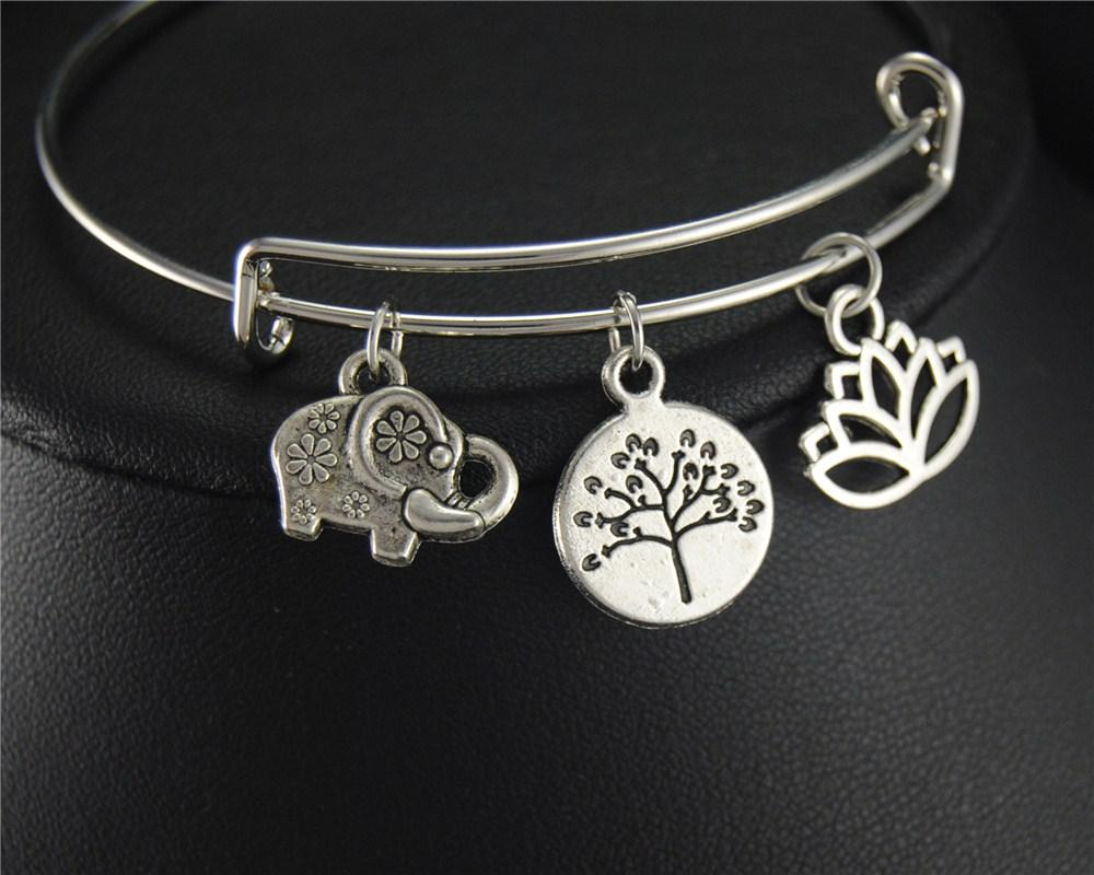 whole saleTibetan Silver Elephant Tree Lotus Charm Expandable Adjustable Wire Wrapped Bangle Bracelet Jewelry Gift